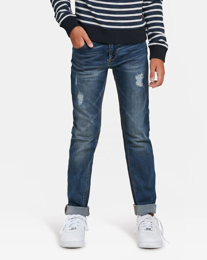 JEANS SLIM FIT RIP & REPAIR POWER STRETCH GARÇON Bleu