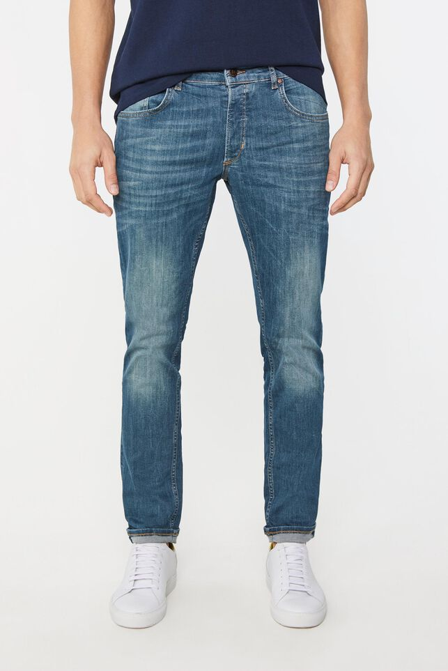 Heren slim fit jeans met superstretch Blauw