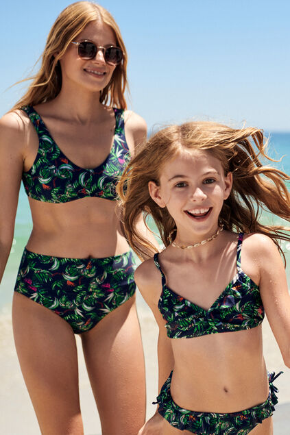 Dames bikinitop met bladerendessin All-over print