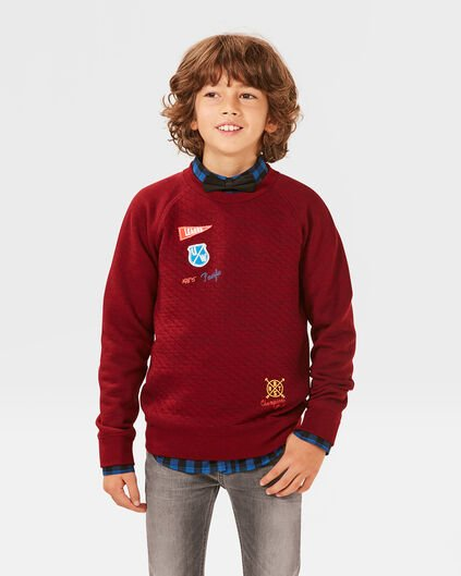 JONGENS PATCHES SWEATER Rood