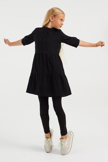 Robe à broderie anglaise fille Noir