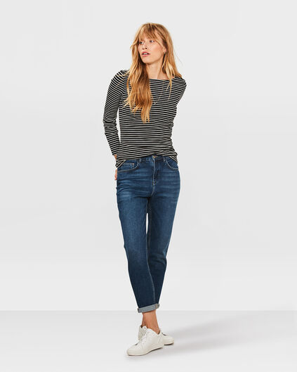 JEANS HIGH RISE TAPERED GIRLFRIEND COMFORT STRETCH FEMME Bleu