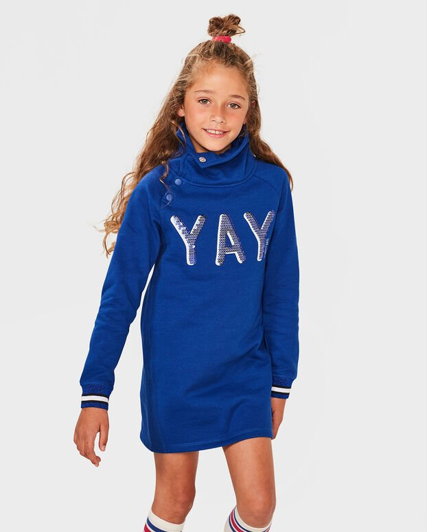 MEISJES YAY OMKEERBARE PAILLETTEN SWEATER DRESS Blauw