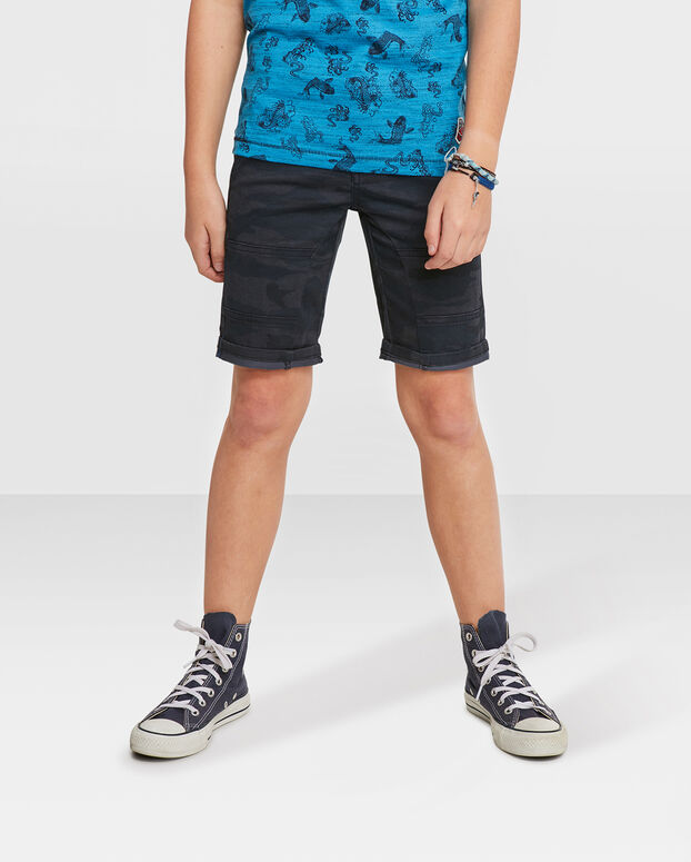 JONGENS REGULAR FIT CAMOUFLAGE PRINT SHORT Zwart