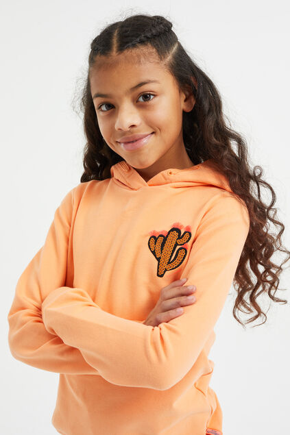Sweat-shirt à capuchon à application pailletée fille Orange