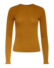 Pull structuré femme_Pull structuré femme, Jaune moutarde