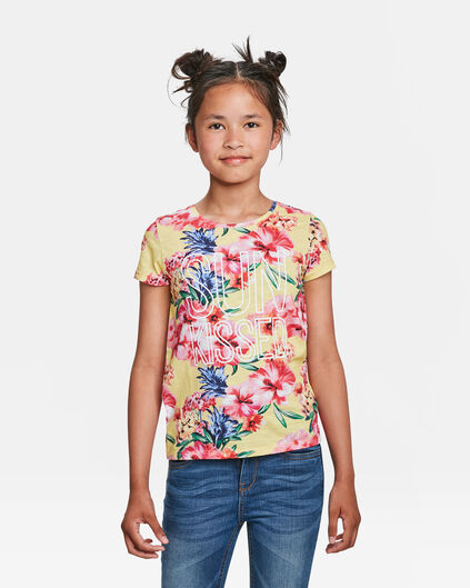 T-SHIRT SUN KISSED PRINT FILLE Jaune clair