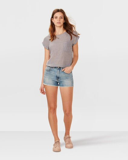 DAMES HIGH RISE SLIM DENIM SHORT Lichtblauw