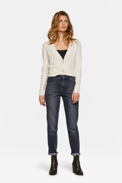 Dames high rise girlfriend jeans Zwart