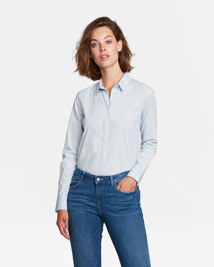 DAMES SLIM FIT POPLIN BLOUSE Lichtblauw