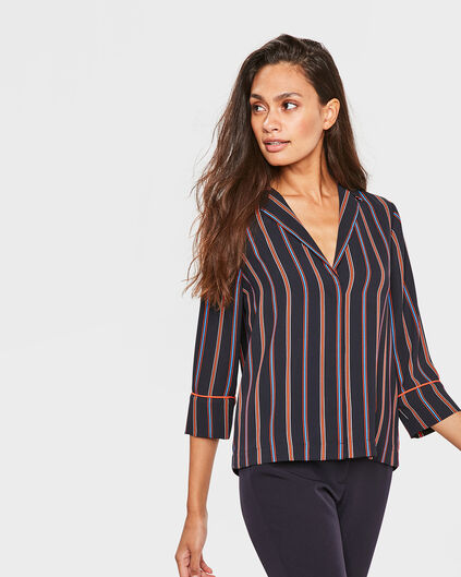 DAMES STRIPED BLOUSE Donkerblauw