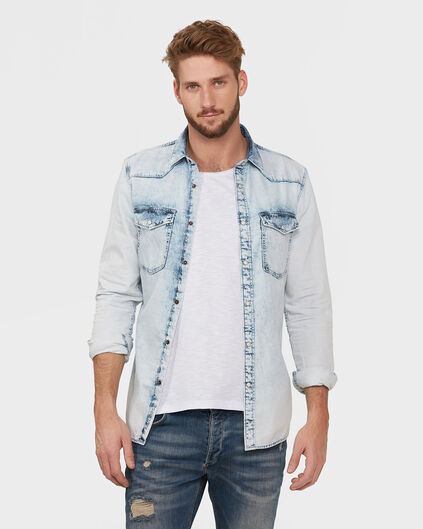HEREN SUMMER WASHED DENIM OVERHEMD Lichtblauw