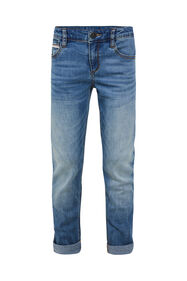 Jongens slim fit jeans met tapedetail_Jongens slim fit jeans met tapedetail, Blauw
