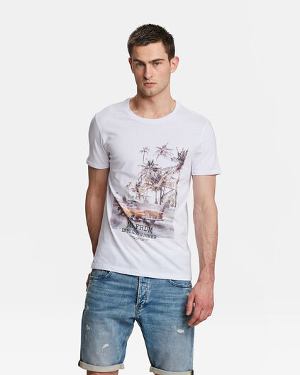 T-SHIRT MR. FREEDOM PRINT HOMME Blanc