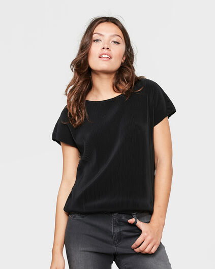 DAMES BOXY FIT PLISSÉ TOP Zwart