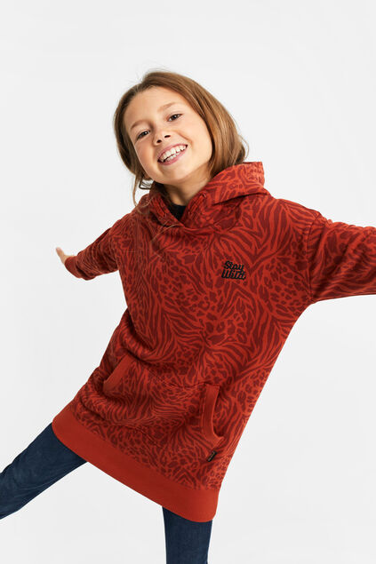 Robe sweat à capuchon fille Rouge safran
