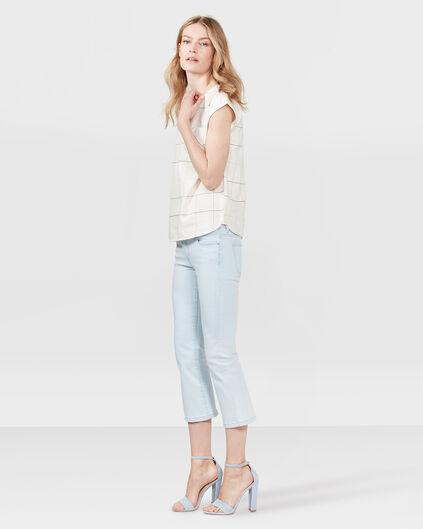 DAMES HIGH WAIST CROPPED FLARE BLEACHED JEANS Lichtblauw