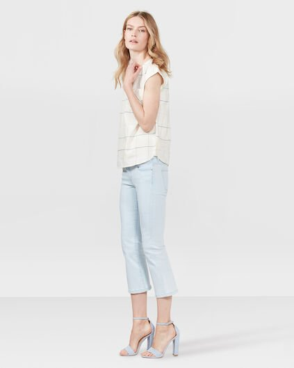DAMES HIGH RISE CROPPED FLARE BLEACHED JEANS Lichtblauw