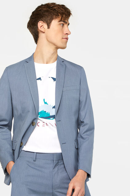 Heren skinny fit blazer Dali met stretch Blauw