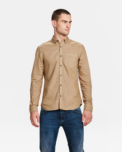 HEREN SLIM FIT OXFORD GARMENT DYED OVERHEMD Lichtbruin