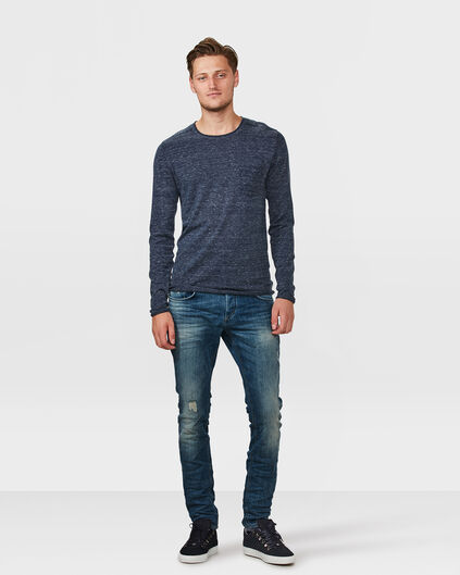 HEREN SLIM TAPERED STRETCH DAMAGED JEANS Blauw