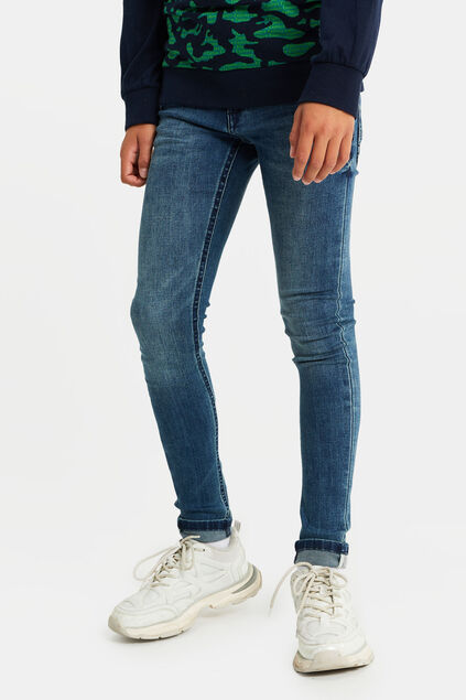 Jongens superskinny fit jeans met tapedetail Donkerblauw