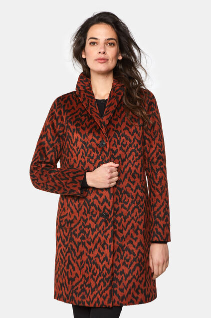 Dames mantel van wolmix All-over print