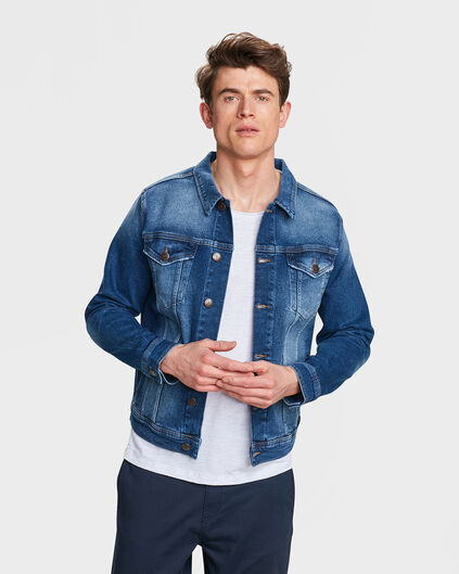 HEREN REGULAR FIT RIP & REPAIR DENIM JACKET Blauw