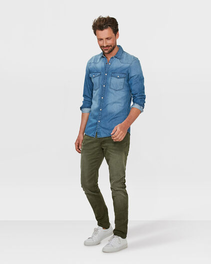 HEREN SKINNY TAPERED STRETCH BROEK Legergroen