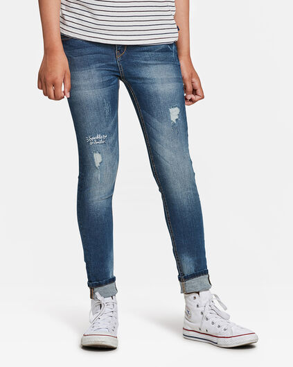 MEISJES SUPER SKINNY FIT  RIP AND REPAIR JEANS Blauw
