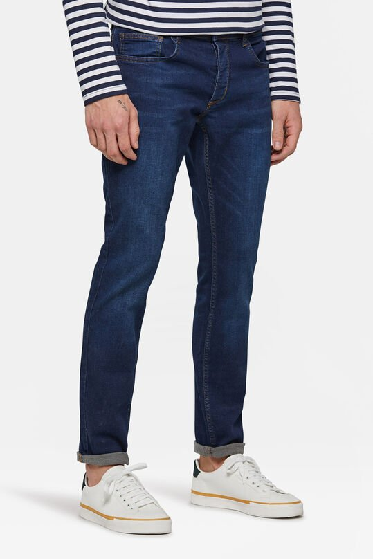 Heren slim fit comfort stretch jeans Donkerblauw