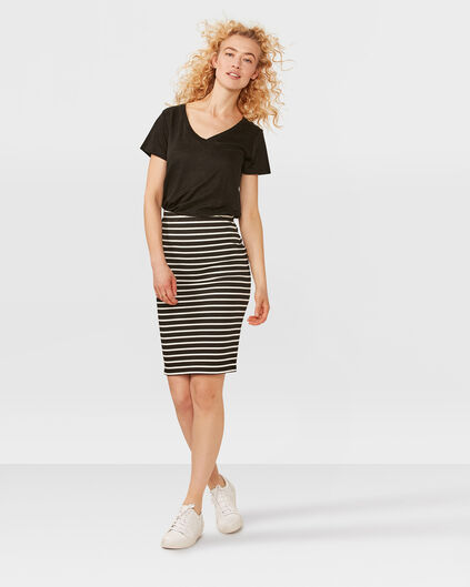 DAMES PENCIL STRIPE KOKERROK Zwart