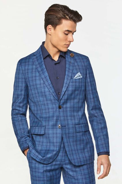 Heren regular fit geruite blazer Kelso All-over print