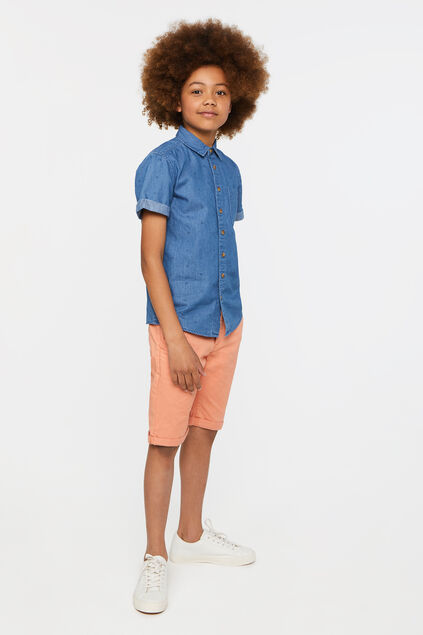Jongens slim fit chino short Oranje