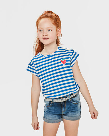 T-SHIRT STRIPED FILLE Bleu