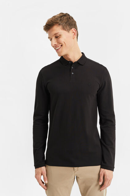 Heren slim fit polo Zwart