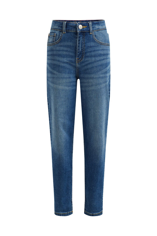 Meisjes high rise mom fit jeans met stretch Blauw