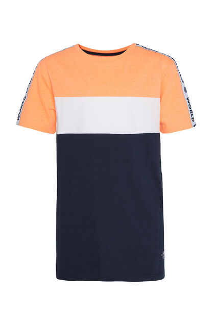 Jongens T-shirt met colourblock Feloranje