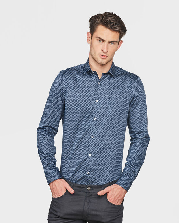 CHEMISE SLIM FIT ALL-OVER PRINT HOMME Bleu marine