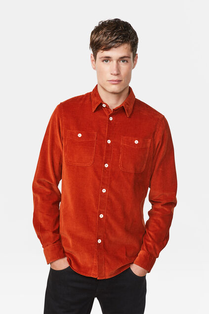 Chemise corduroy regular fit homme Brun rouille