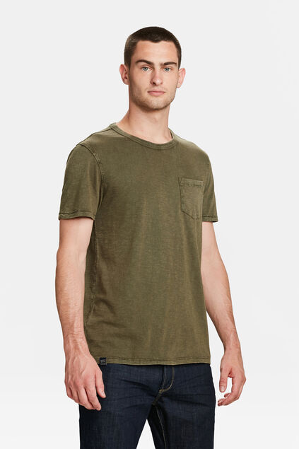 HEREN GARMENT DYED T-SHIRT Legergroen