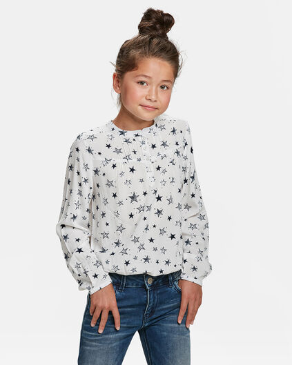 MEISJES STERRENPRINT BLOUSE Wit