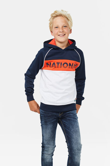 Jongens colourblock capuchonsweater Marineblauw