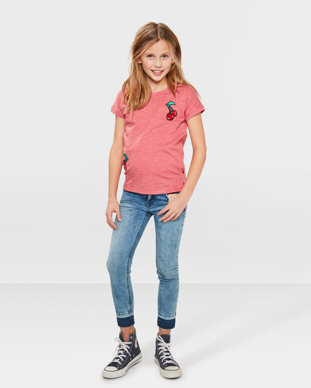 MEISJES STRIPED CHERRY T-SHIRT Rood