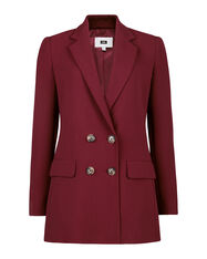 DAMES LOOSE FIT DOUBLE BREASTED BLAZER_DAMES LOOSE FIT DOUBLE BREASTED BLAZER, Bordeauxrood