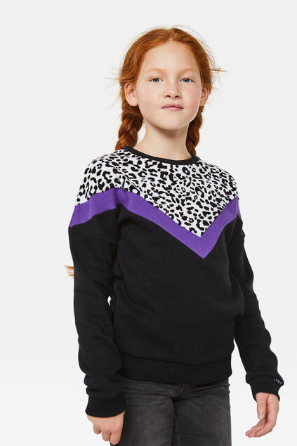 Sweat-shirt bloc de couleur fille Noir