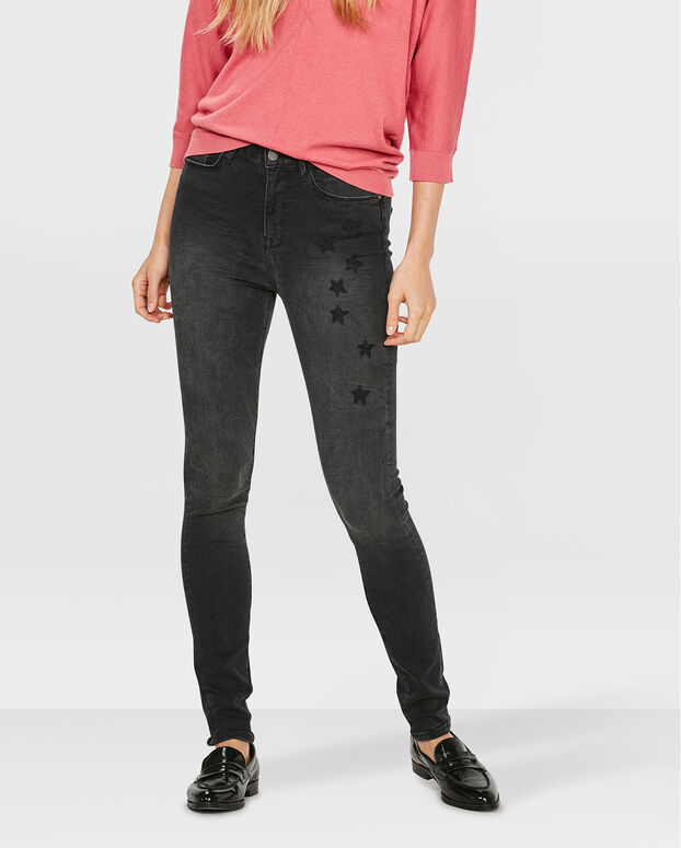 DAMES HIGH RISE EMBROIDERY SKINNY JEANS Zwart