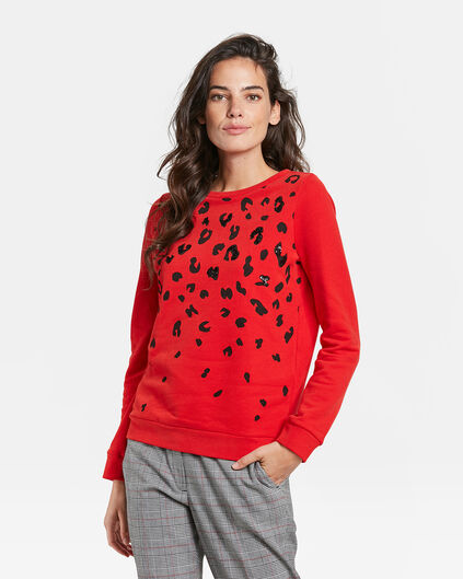 DAMES LUIPAARD PAILLETTEN DESSIN SWEATER Felrood