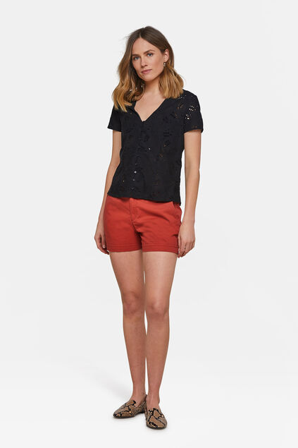 Short chino slim fit femme Brun rouille