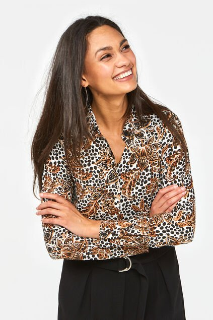 Dames blouse met dessin en glitterdetails All-over print